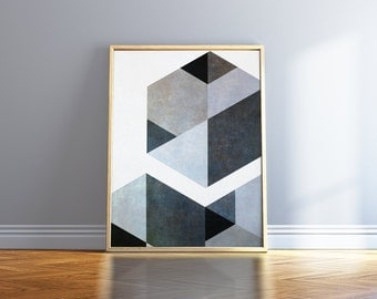 Black And White Art Nordic Print Gray Minimalist Poster Geometric Scandinavian Print Black And White Poster Black And White Abstract Art