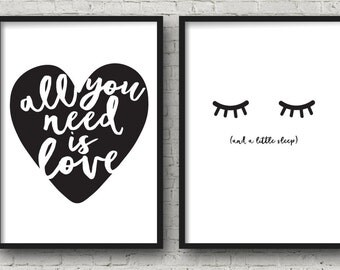 Oversize Art All You Need Is Love Bedroom Art Poster 24x36 Set Of 2 Digital  Art