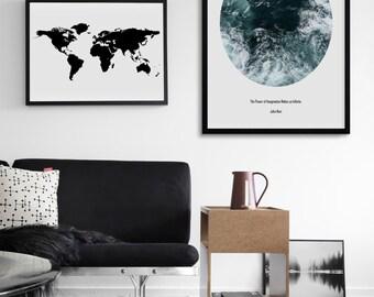 Waves Print • Ocean Waves • Waves Print • Coastal Beach Print • Ocean Waves Print • John Muir Quote • Nature Print • Minimalist • John Muir