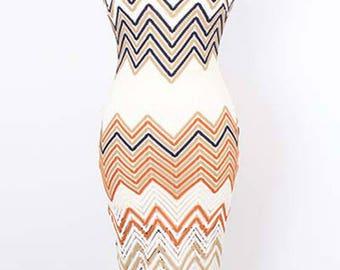 Sleeveless Chevron Striped Multi Color Midi Dress/Off Chevron Sleeveless Midi Dress/Sleeveless Dress/Striped Dress/Keyhole Back Dress/