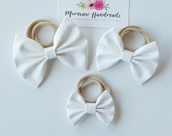 Fabric Bow Headband, hair Clip, Nylon Headband, Bow Hair Clip , Girls Hair Clip - White Bow, Choose Headband or Clip