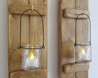 Pair of 38 cm tall Rustic Reclaimed Pallet Wood Wall Sconce's with hanging Fleur de lis glass jars Tea Light Lanterns candle holders