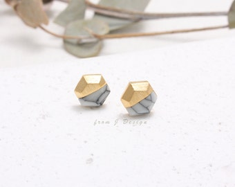 White Howlite Hexagon Stud Earrings, White Marble Stud Earrings