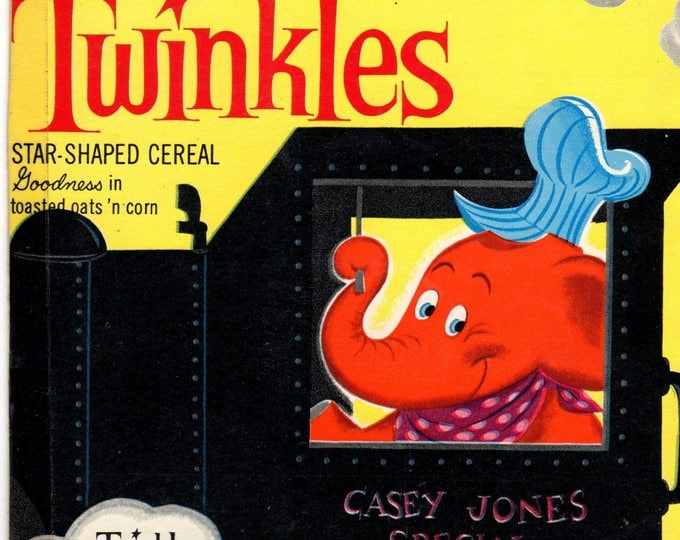 1960's Twinkles General Mills Cereal Box Book Twinkles and Casey Jones