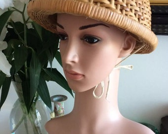 Genuine 1940s Riding Hat WWII Land Girl Wicker Pristine Pinup Bombshell