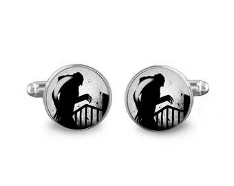Nosferatu Cuff Links Vampire Cuff Links 16mm Cufflinks Gift for Men Groomsmen Horror Cuff links Fandom Jewelry