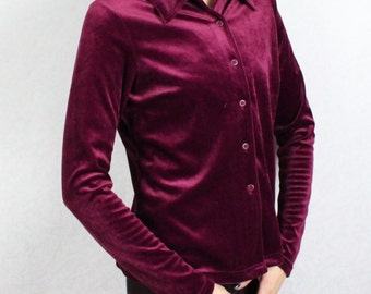 Marsala Velvet Blouse Wine Red Burgundy Womens Velvet Top Long Sleeves Velvet Shirt Button-Up Collared Velvety Velveteen Blouse Large Size
