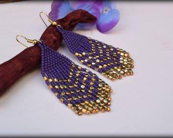 Fringe Earrings,Beaded fringe earrings,Purple Earrings,Gold Earrings,nickel free,statement earrings,modern,gift for her,seed bead earrings