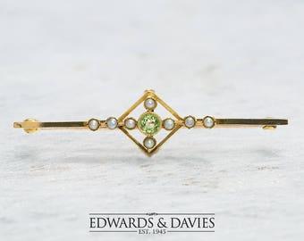 Gold Pearl Peridot Pin Brooch | Peridot Brooch | Peridot Pearl Lapel Pin  | Antique Jewelry | Antique Jewellery | Antique Brooch | Vintage