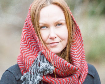 Handwoven Tunel Scarf Merino Alpaca Wool blend Natural & Warm material made in Italy