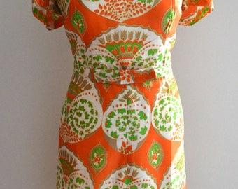 Vintage 60s silk orange floral pattern dress M/L