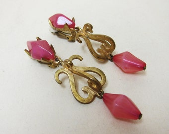 Clips Delphine Nardin Paris earrings Vintage plate gold rose Baroque