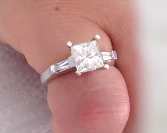 Certified 2.00 CT Radiant Cut and Baguette Cut Diamond engagement Ring 14k white gold  hand made