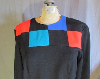 Color Block Dress | Late 1980s Early 1990s Color Block Dress Size 16 or Extra Large | Positive Attitude