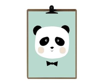 Panda nursery print - Green color Nursery art prints - baby nursery decor - nursery wall - Children Art - Kids Room