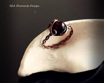 Handmade Deep Garnet Rustic Copper Ring