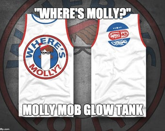 Where's Molly?  Molly Mob Clothing Glow In The Dark Unisex Tank top.