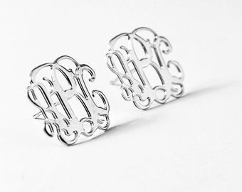 Monogram Silver Earrings - monogram stud earrings - personalised earrings, custom earrings, stud earrings - One of a kind - Birthday gift