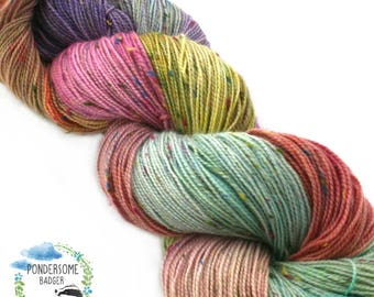 Faded Carousel - hand dyed, 4ply, superwash merino, donegal nep, sock yarn