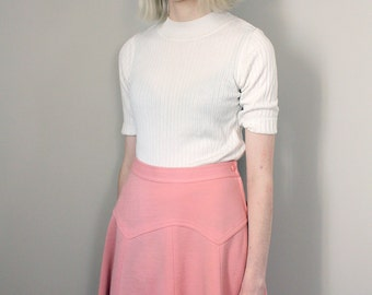 Vintage 60s Baby Pink Thick Woollen Boho Maxi Skirt - Extra Small/Small