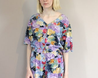 Vintage 80s Floral Multi-Coloured Playsuit/Romper - Small