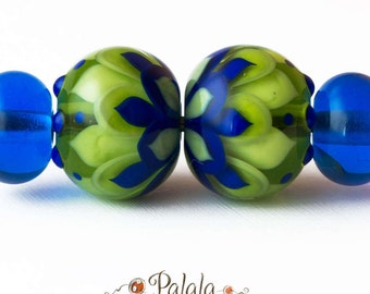 Pair of blue and green Lampwork Glass Beads for earrings