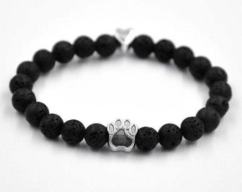 Beautiful Beaded Bracelet with a Silver Footprint Paw Dog Jewelry