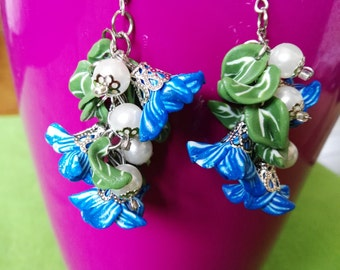 Blue flowers Earrings polymer clay, czech glass beaded