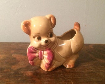 Puppy with Red Bow Ceramic Planter - Mid Century