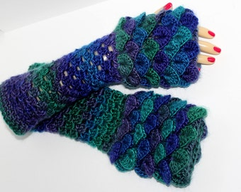 LONG or SHORT, Dragon Gloves, Dragon Scale Gloves, Fingerless Mittens, Crocodile Stitch, Arm warmers, Winter gloves, Game of thrones, 205-2