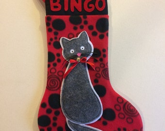 Cat Christmas stocking, Christmas stocking, Pet Christmas stocking, Personalized Christmas stocking