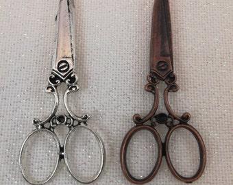 Antique Copper and Antique Silver Scissor Needleminders / Scissor Needleminders