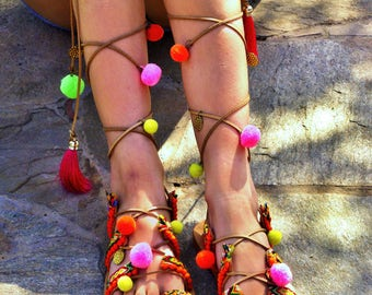 FREE SHIPPING Boho Colorful Sandals / Pom Pom Sandals / Bohemian Strappy Sandals / Greek Leather Sandals / Womens Sandals / Ethnic Sandals