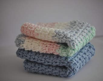 Crocheted Dishcloths - Crochet Dishcloth - Dishcloths - Washcloths - Baby Washcloths - Cotton Washcloths - Baby Shower Gifts - Wedding Gifts