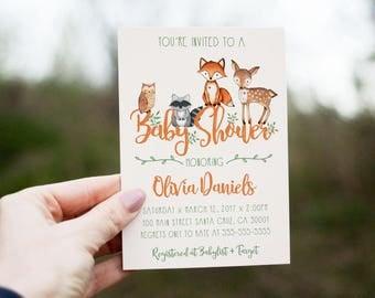 Woodland Baby Shower Invitation, woodland invite, Fox invitation  Baby animals, gender neutral, Boy baby shower invitations, printed digital