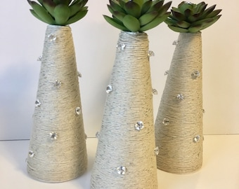 Succulent & Twine Trees, set of 3