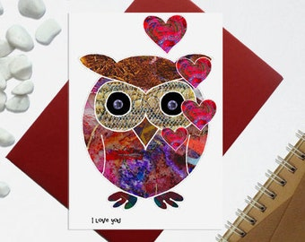 Owl valentine card - Cute Owl illustration - Owl with hearts - card for the owl lovers - heart card - A6