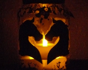 Handmade lantern / Horse silhouette fairy jar lantern / Fairy light holder / night light /  LED candle holder / storage jar with lid.