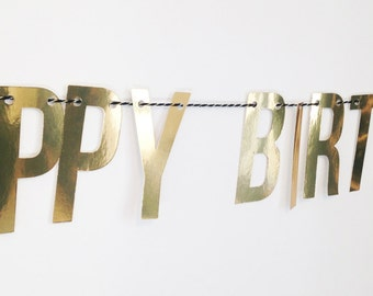 Happy Birthday Gold or Silver Cardstock Bunting