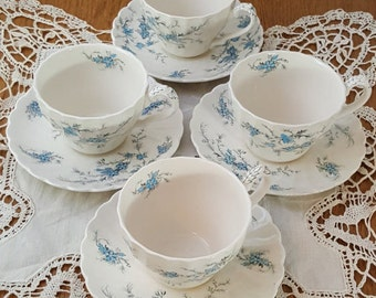 Myott Staffordshire Forget Me Not English Fine China Set of 4 Cups and 4 Saucers