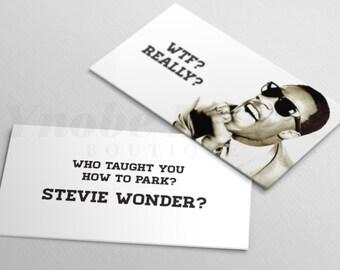 WTF, Really, Stevie Wonder, Bad Parking, Gag Gift, Parking, Card, Funny, Stocking Stuffer, Set of 20 cards (YEC00002)
