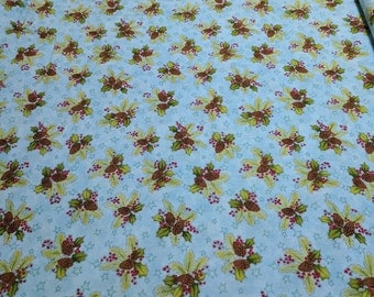 Do You See What I See-Pinecones and Holly Cotton Fabric from Henry Glass