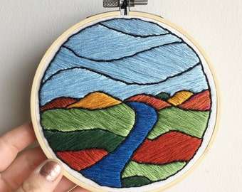 Country River Landscape - Contemporary Embroidery Hoop Art Wall Hanging - Blue, Green, and Rust Decor