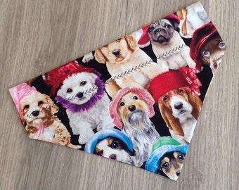 Fun Doggie Bandana in Funny Dog Hats Print, in a Slide thru Collar Design