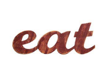 Eat Sign, Rustic Home Decor, Wood Kitchen Sign, Eat Letters, Distressed Wood Sign, Rustic Wood Sign, Kitchen Decor, Eat Sign For Kitchen