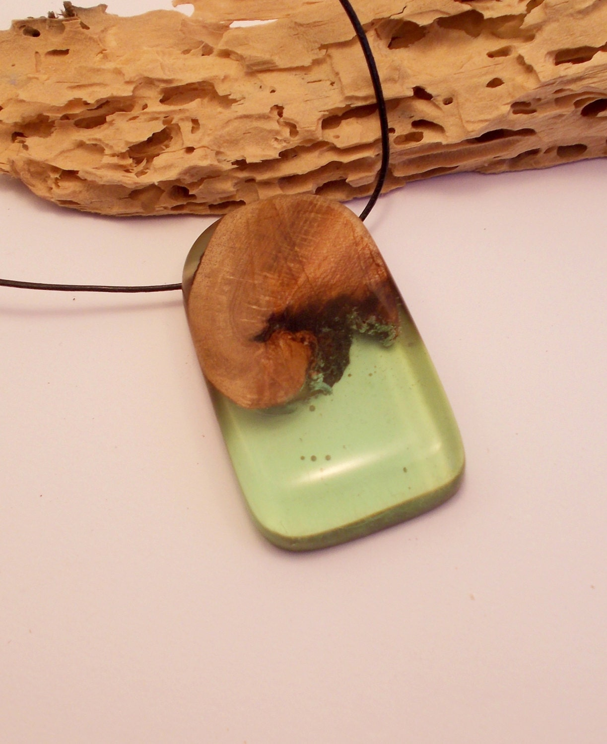 resin wood necklace mint green resin pendant wood and resin. Black Bedroom Furniture Sets. Home Design Ideas