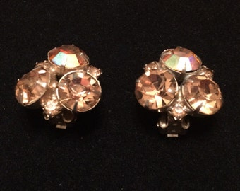 Sparkly Iridescent Vintage Clip Earrings