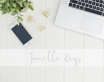 Stock Photography / Gold Phone & Desktop / Digital Background / Styled Photography / Flatlay / Stock Photo