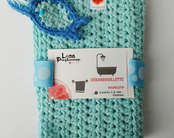Handmade Crochet washcloth - cotton - Bulle Framboise