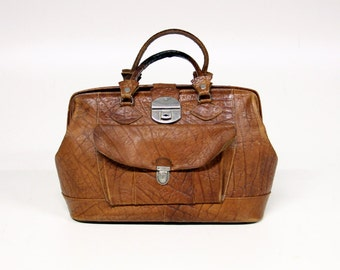 Gorgeous vintage brown leather doctor's bag bag-Cheney-overnight bag